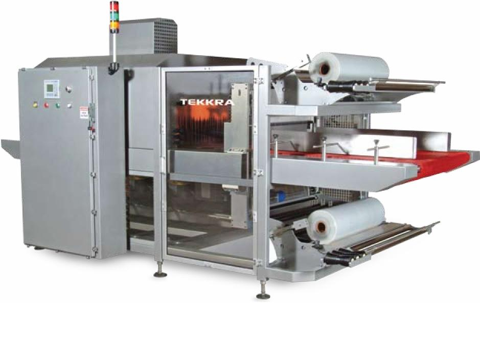 Tekkra 100 Series in-line automatic sleeve wrapper and shrink tunnel